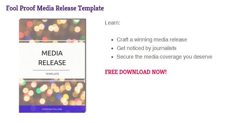Media release template lead magnet
